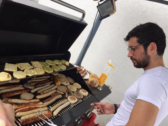 Lorenzo working the barbecue like a boss